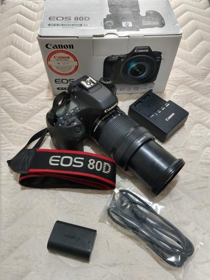Câmera Canon Eos 80d Com Lente De 18-135mm F/3.5-5.6