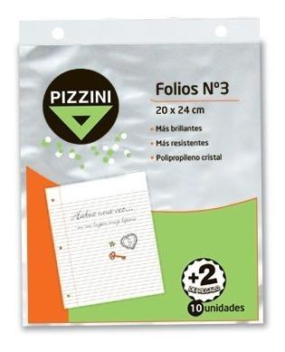Folios Escolares X12 Unidades 20x24 Cm Transp Pizzini Cuotas