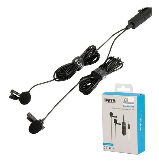 Microfone De Lapela Duplo Boya -by-m1dm (celular/dslr)