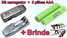 Carregador De Pilha Recarregável Usb + 2 Pilhas Aaa + Brinde
