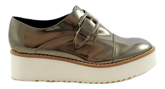 Sapato Oxford Flatform Com Fivela Metalizado Carrano 13411