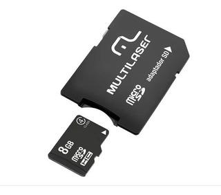 Cartão De Memória Micro Sd 8gb Leitor De Cartão Multilaser