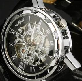 Relógio Winner Esqueleto Mecânico Automático