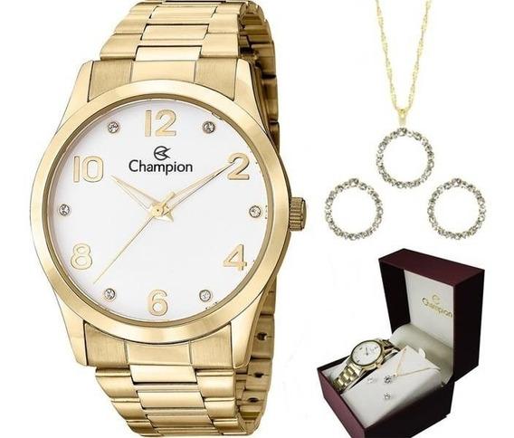 Kit Relógio Feminino Champion Dourado Com Semi Joias