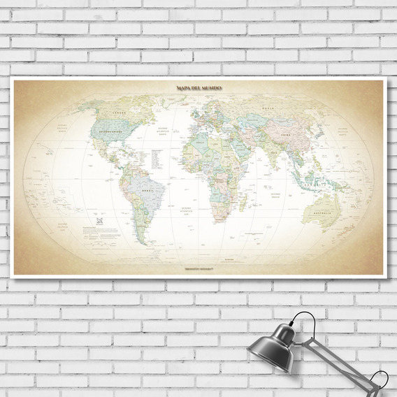 Mapamundi Planisferio Político Vintage En Lienzo 116cmx61cm