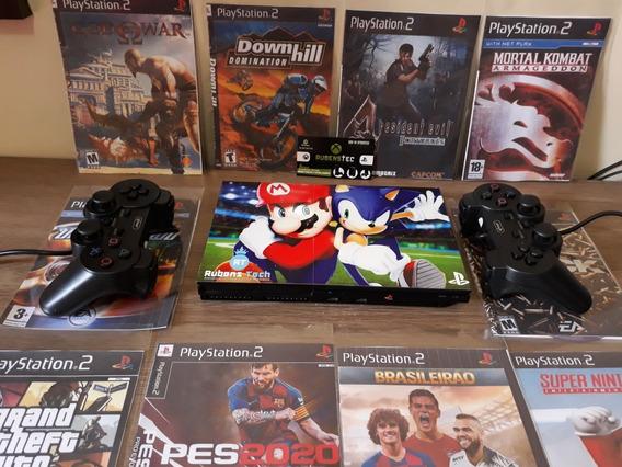 Playstation 2 Completo Leitor Novo Ps2+ 02controles+5 Jogos