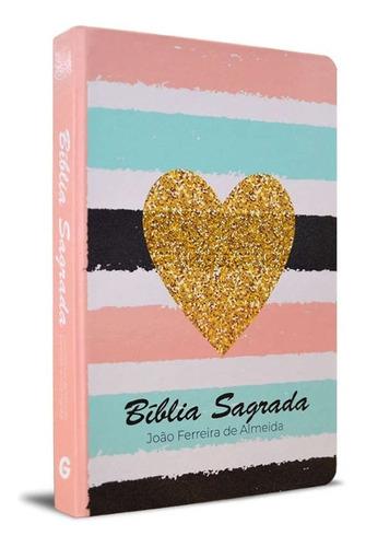 Biblia Sagrada Listrada Coração Arc Letra Normal Capa Dura