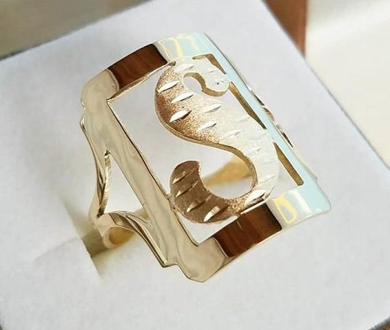 Anel Feminino Letra Grande Ouro Maciço 18k 750 - 3 Gramas