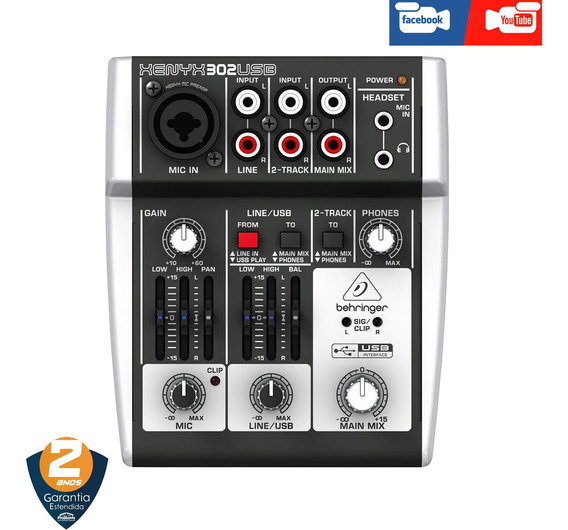 Interface Mesa Behringer Xenyx 302 Usb Live Face Youtube