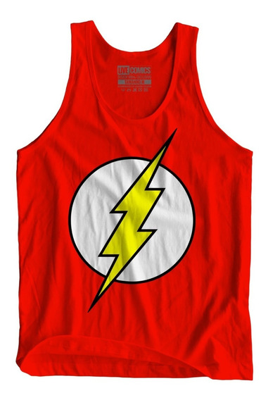 Camiseta Camisa Masculina Flash Logo Dc Comics Regata