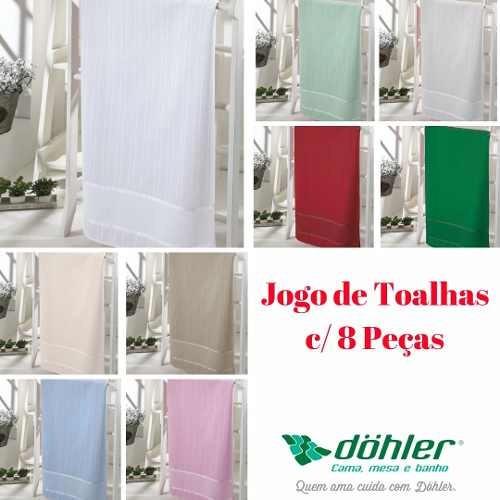 Kit Toalha Banho Dohler Bordar Bella C/ 8 Peças