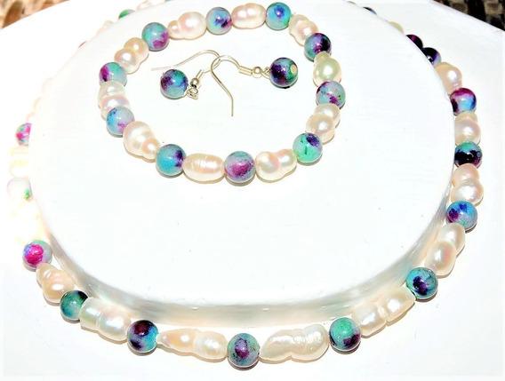 Collar Y Pulsera + Aretes Perla Cultivada Blanco + Jade 116