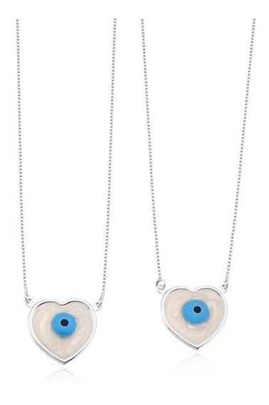 Escapulário Coração Olho Grego Prata 925 60 Cm