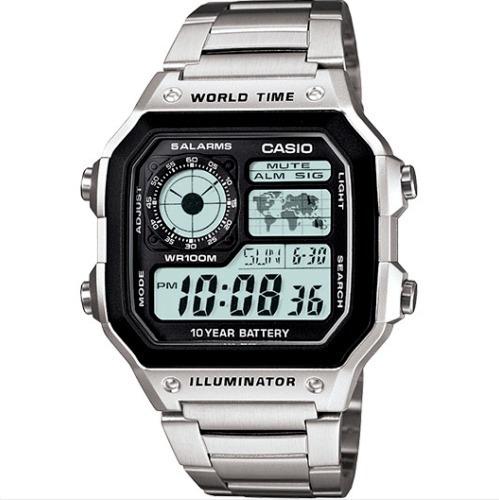 Relógio Casio Masculino Prata Com Mapa Digital Ae-1200whd