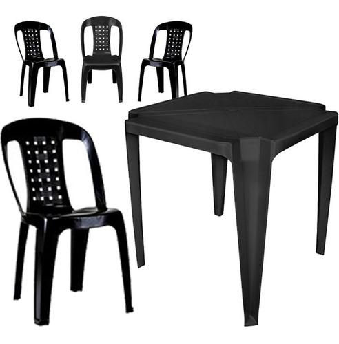 Mesa De Plastico Laser Quadrada Preta Com 4 Cadeiras