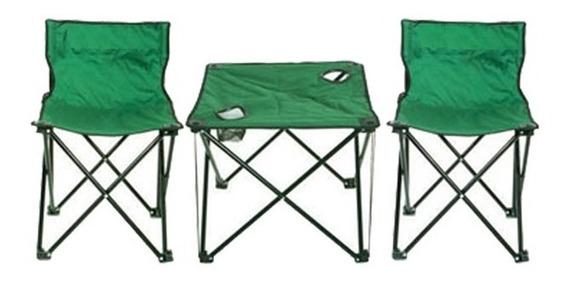 Conjunto 2 Cadeiras E Mesa De Praia Camping Petisqueira Kit