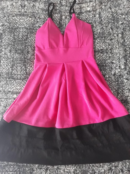 Vestido Color Fucsia Y Negro!