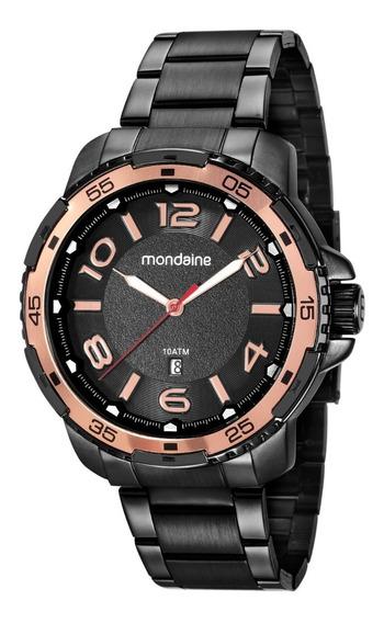 Relógio Masculino Mondaine 53703gpmvpe2 Preto Pvd Aro Rose