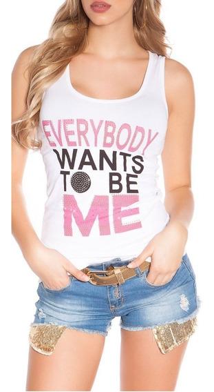 Koucla Musculosa T-shirt Con Print Y Pedreria !!!