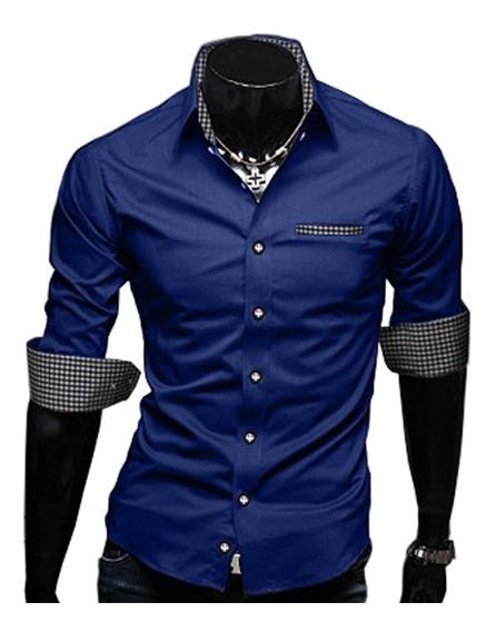 Camisa Social Azul Marinho Masculina Slim Fit Manga Curta 34