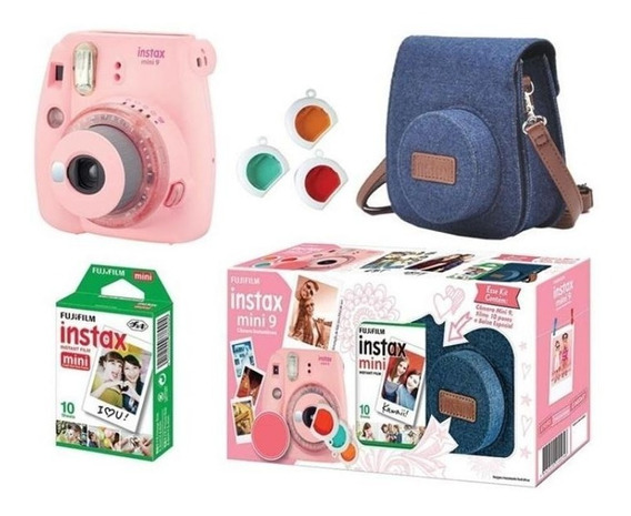 Kit Camera Instax Mini 9 Rosa Chicle + Bolsa E Filme