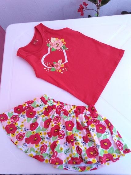 Conjunto Infantil Feminino Regata E Saia Coração E Flor