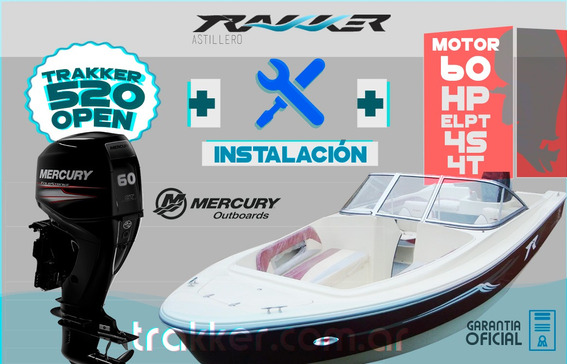 Lancha Tracker Trakker 520 Open + Mercury 60 Hp + Inst
