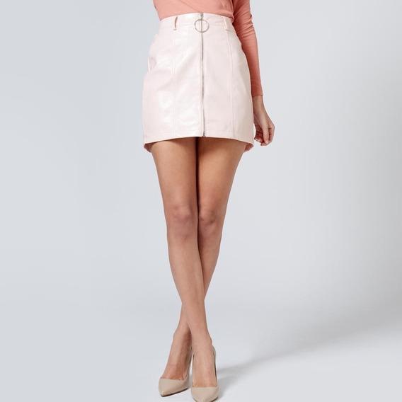 Minifalda Casual Rosa Cierre Frontal 38243100