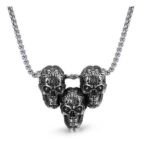 Collar Acero Inoxidable Cráneo Calaveras Skull Gótico Hombre
