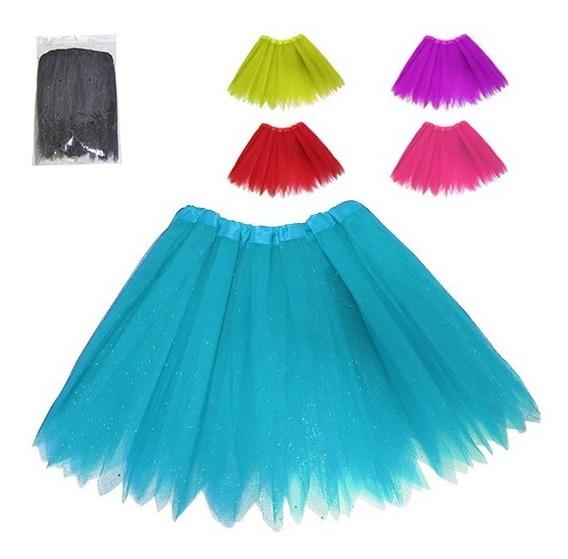Saia De Tule Crianca Com Brilho Glitter Carnaval 40cm