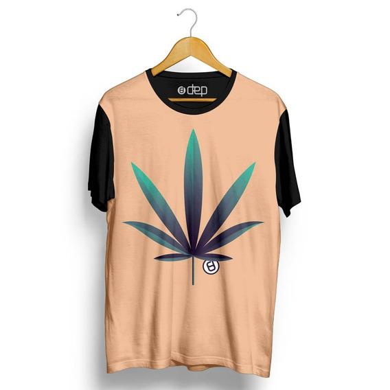 Camiseta Dep Folha Cannabis Bege Original