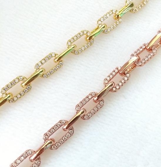 Conjunto De Pulseiras De Elos Rosé E Dourada Com Zircônias