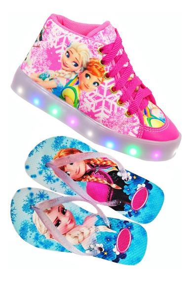 Tenis Led Kit + Chinelo Gratis Frozen Princesa Elza Combo