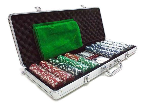 Maleta Poker 500 Fichas Sem Numeração Abs Completo
