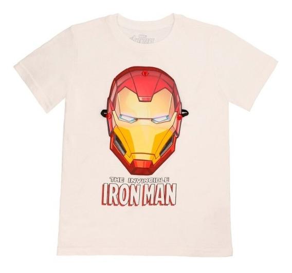 Playera Máscara Removible De Niños C&a Licencia Iron Man