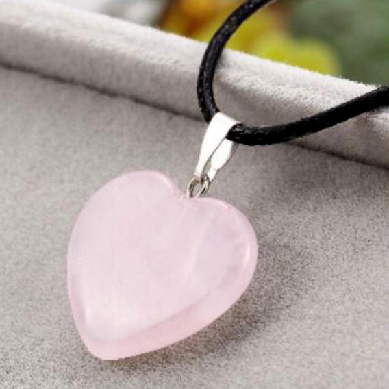 Colar Coração Pedra De Quartzo Natural Rosa Claro