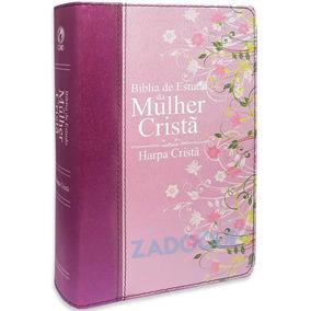 Bíblia De Estudo Da Mulher Cristã Média C/ Harpa Capa Rosa