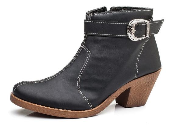 Zapatos Mujer Texanas Negro Con Cierre