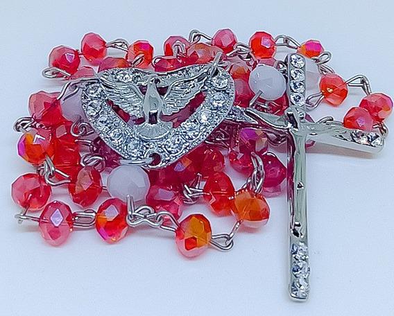 Terço Divino Espírito Santo Cristal 8mm Rosário Noiva
