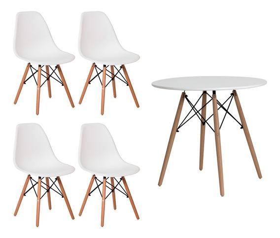 Conjunto Mesa Eiffel Eames Redonda 80cm Branca + 4 Cadeiras Charles Eiffel Eames Branco Sala Cozinha Jantar