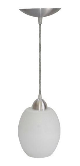 Pendente Lustre Luminária De Teto Oval Liso Aço E Vidro