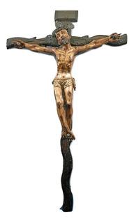 Antigua Talla De Cristo Policromado En La Cruz México