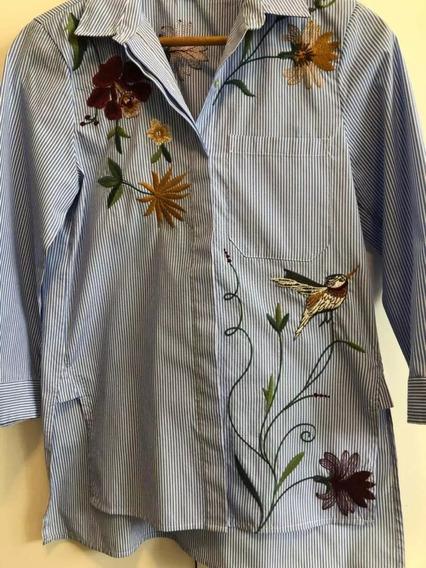 Camisa Zara Rayada Bordado Flores Talle M