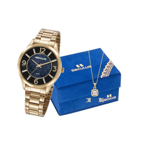 Relógio Seculus Feminino 23621lpsvds1k1 + Colar E Brincos