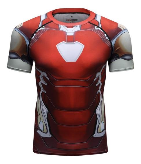 Camisa Compresion Marvel Avengers Endgame Iron Man Mark 85 Playera Hombre Manga Corta Licra Crossfit Gym Rashguard