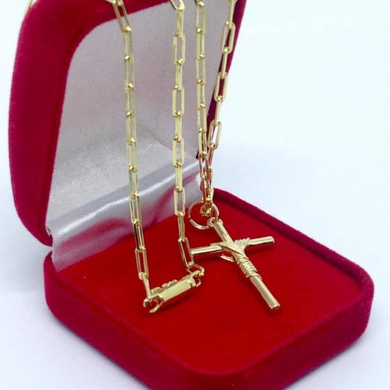 Corrente Cordão + Pingente Cruz Crucifixo Fecho Gaveta Folheado A Ouro 18k 70cm 3mm Masculino - Belo Conjunto