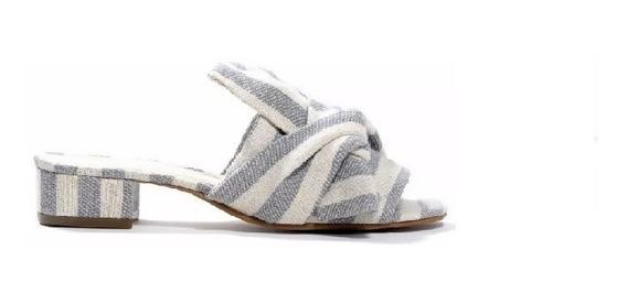 Zapato Mujer Sandalia Natacha Moño Tela Rayas Celeste #132