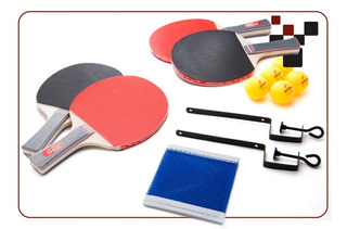Kit Tenis Ping Pong De Mesa 4 Raquetes, 5 Bolas E Rede