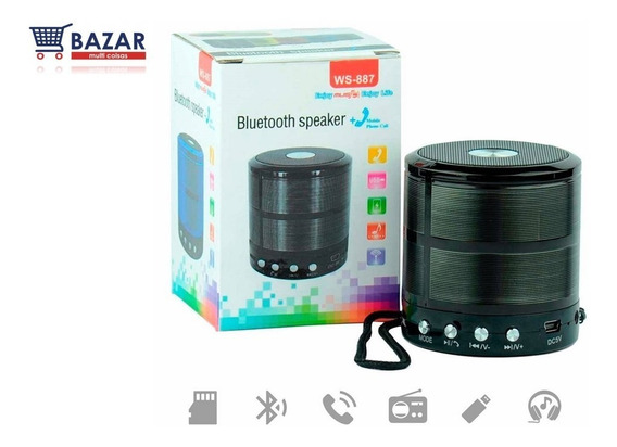 Mini Caixa De Som Bluetooth Mini Speaker Radio Fm Cartão Memória Caixinha Pendrive Atende Telefone Pela Caixinha Som