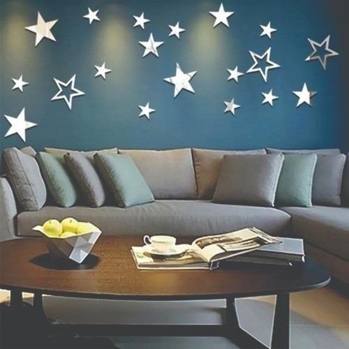 Espelho Acrílico Decorativo 13 Pçs / Set Estrelas